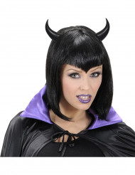 Svart  Diadem  med djävulshorn Halloween vuxen
