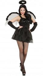 Halloweendräkt svart ängel dam