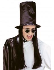 Hög hatt med svart hår Halloween