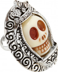 Silverfärgad ring med dödskalle och stenar vuxen