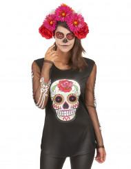Färgglad t-shirt Dia de los muertos damstorlek