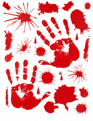Klistermärken med blodiga händer för Halloween