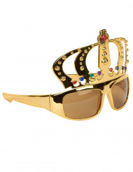 Guldfärgade glasögon med kungakrona vuxen