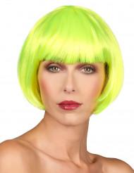 Peruk med kort neongult hår