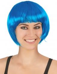 Peruk med kort medelhavsblått hår