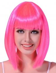Peruk som är halvlångt med neonrosa hår
