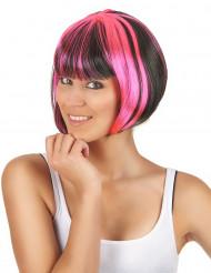 Peruk med kort rosa-svart frisyr med lugg