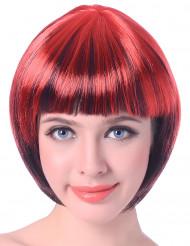 Kort röd och svart peruk