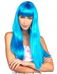 Lång blå peruk med lugg