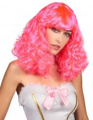 Peruk med halvlångt rosa vågigt hår för vuxna