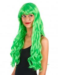 Neongrön lång peruk med lugg