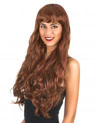Kastanjebrun peruk med vågigt hår för vuxna