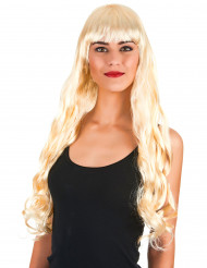 Peruk med superlångt blond hår