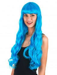 Peruk med medelhavsblått hår