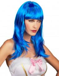 Lång blå peruk för vuxna med lugg