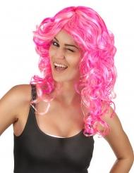 Rosa lockig peruk med high-lights för vuxna