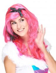 Rosa glamourös lång peruk