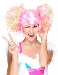 Ljusrosa peruk med lockiga tofsar