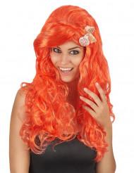 Peruk Långt orange hår