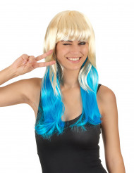 Blond och Blå Tie & Dye peruk för vuxna