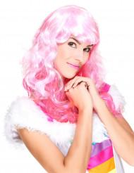 Rosa glamourös peruk med lugg för vuxna