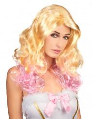 Peruk Blond med rosa toppar