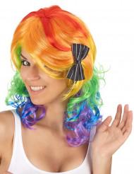 Halvlång flerfärgad peruk