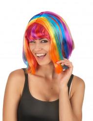 Mångfärgad peruk med pannlugg
