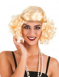 Blond charlestonperuk med gyllena band för vuxna till maskeraden