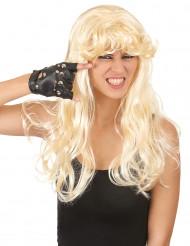 Peruk Blond med lockar och lugg