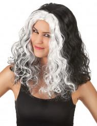 Svartvit Halloween peruk med lockar för vuxna