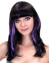Svart peruk för vuxna med lugg och lila slingor