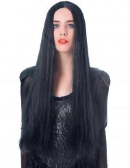 Svart mycket lång peruk - 75 cm