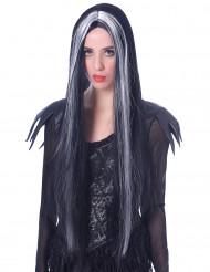 Väldigt lång svart-vit Halloween-peruk för vuxna