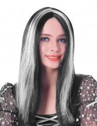 Peruk med långt hår i svart och vitt - 45 cm