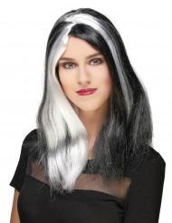 Lång svartvit Halloween peruk