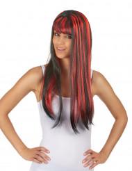 Peruk Svart hår med röda slingor