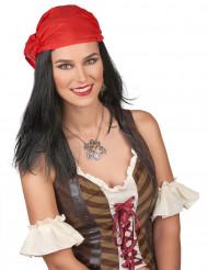 Piratperuk med röd bandana för vuxna