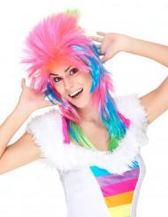Multifärgad pudelrockare - Peruk för vuxna