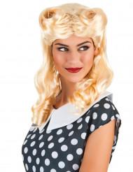 Blond korkskruvslockig peruk