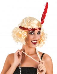 Blond Charlestonperuk med rött band för vuxna till maskeraden