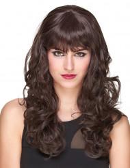 Lyxig kastanjebrun vågig peruk med lugg - 221 g