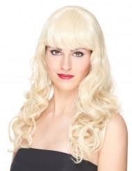 Lyxig blond vågig peruk med lugg - 221 g