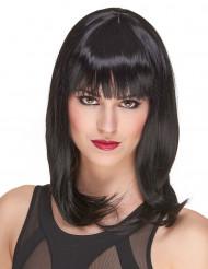 Lyxig halvlång svart peruk för vuxna 170 g