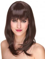 Lyxig halvlång Kastanjebrun peruk - 170 g