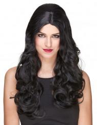 Lyxig lång svart lockig peruk - 251 g