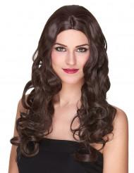 Lyxig lång kastanjebrun lockig peruk - 251 g