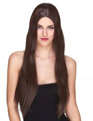 Väldigt lång luxig kastanjebrun peruk