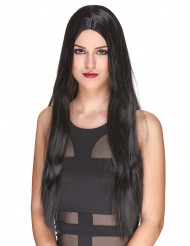 Väldigt lång lyxig svart peruk