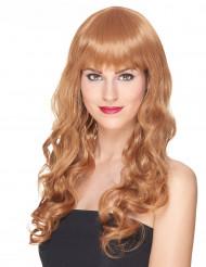 Lyxig lång röd lockig peruk med lugg för vuxna